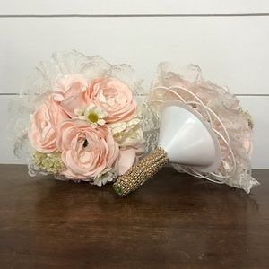 2 flower fake bouquets with rhinestone handles